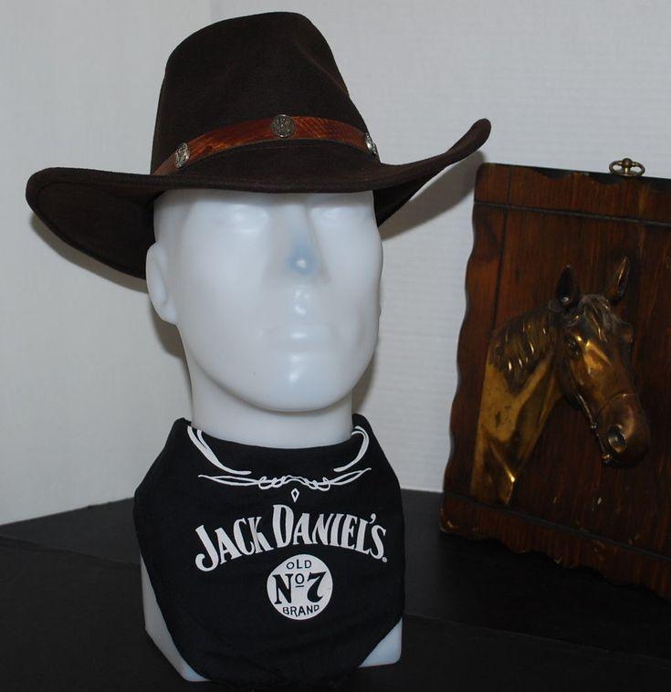 Jack Daniels Western Cowboy Hat With Bandana Size: 7  Color : Coffee Bean Brown #JackDaniels #CowboyHat