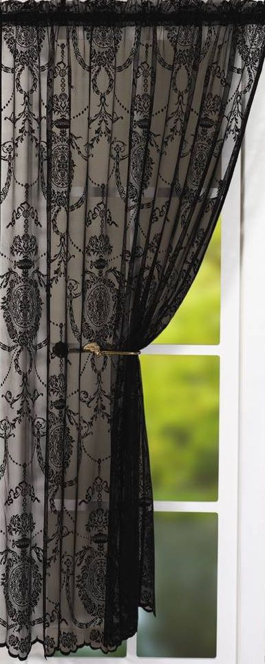 HOLLY VOILE PANEL,  VICTORIAN STYLE LACE EXCELLENT QUALITY - WHITE CREAM & BLACK