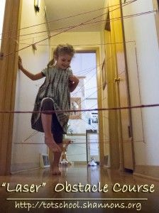"""""""Laser"""" Obstacle Course with Yarn --  In addition to autism, E has left hemiplegic cerebral palsy and motor/speech planning dyspraxia.  This activity would really help her to develop her motor planning skills...plus it looks like fun."""
