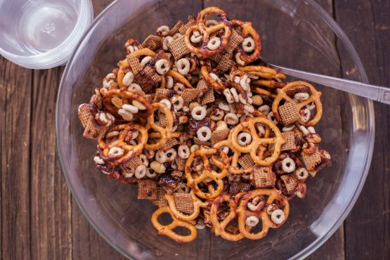 I have a house full of picky kids, so I end up with lots of open boxes of cereal. This works with pretty much any cereal youd want to eat. Ive used Kix, Apple Jacks, Rice Krispies, Cheerios, Cocoa Puffs, even Life! I like the stick or mini pretzels the best. Id bet the big sourdough ones, crushed a bit of course, would be really good too. Please please please be very careful with the boiling syrup. Keep an ice bath nearby in case you spill on yourself. Any seasoned candy maker knows how…