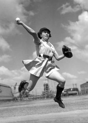 """Alma """"Ziggy"""" Ziegler completes this play for the Grand Rapids Chicks 1950, going for the double Play from second base. That year she was honored as the""""Player of the Year"""" for her many talents on the field and her popularity with players from her team as well as all the players from all the other teams in the league. """"Ziggy"""" was a team leader and inspiraion to rookies and veterans alike. She led her team over many years as the Team Captain and led her team to win the Pennant Race in 1953."""