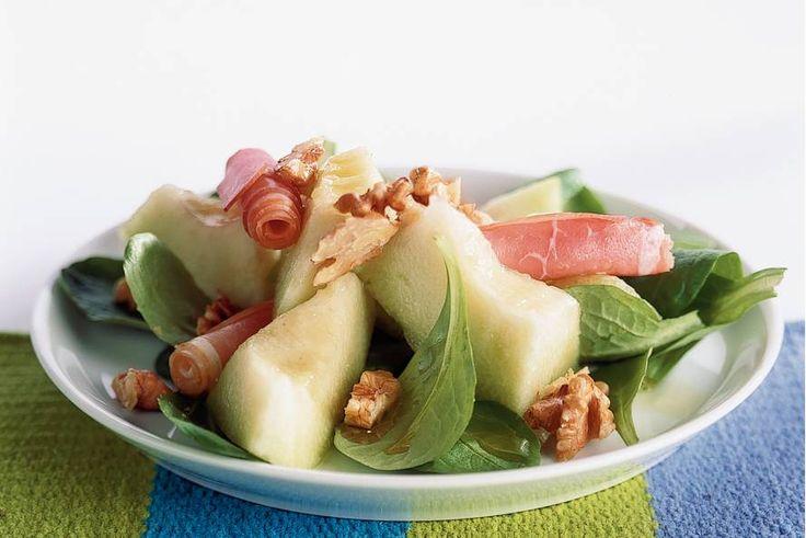 Kijk wat een lekker recept ik heb gevonden op Allerhande! Meloensalade