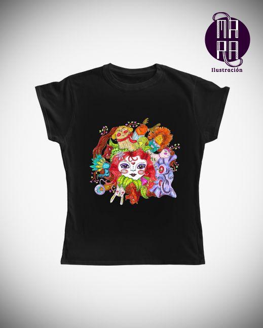 Camiseta Bosque para mujer Colores disponibles: Blanco - Negro - Rojo - Rosado - Amarillo - Lila  Tallas disponibles: S - M - L - XL  http://camaloon.es/descubre/artistas/mara-ilustracion/creaciones/black-cat-white-cat/camisetas-personalizadas/camisetas-personalizadas-mujer/productos