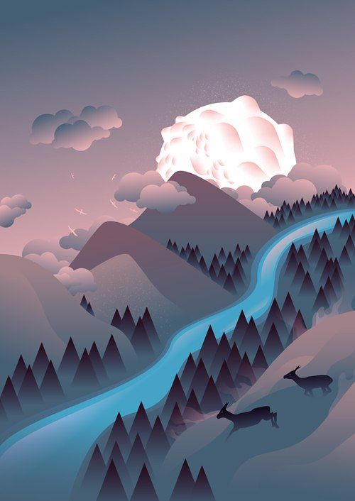 Vector Illustrations by Martynas Pavilonis. This looks like a fairly simple vector illustration. The colors are from the same color family. I like how bright the stream is and it looks like it's glowing. I didn't noticed the two deer on the right side at first, but it's a nice touch. The white spot is throwing me off because I'm not sure if it's the sun or the moon. It looks like a blob of white clouds. I like that the designer stuck with blues and purples throughout the piece.