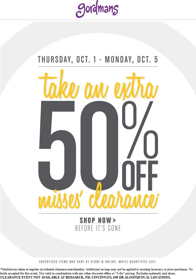 Pinned October 1st: Extra 50% off misses clearance at #Gordmans #coupon via The #Coupons App