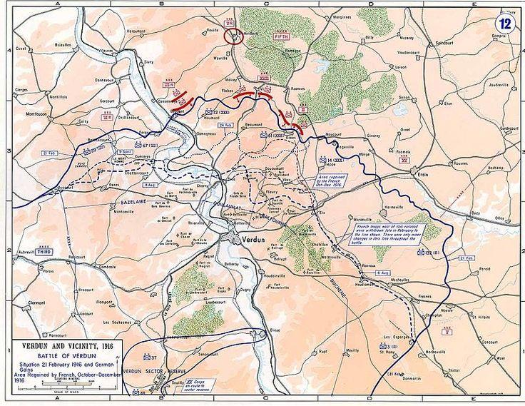 De slag om Verdun was van  21 Februari tot 20 December 1916. Aan deze veldslag deden Frankrijk en Duitsland. Deze slagpartij werd uiteindelijk door Frankrijk gewonnen.