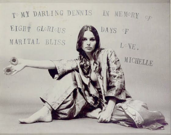 Photograph of Michelle Phillips given to Dennis Hopper to commemorate their 8-day marriage in 1970.