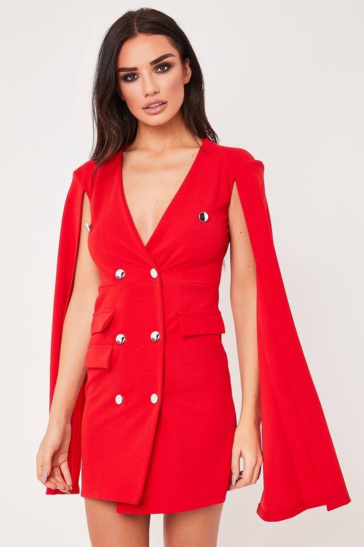 Eshe Red Split Bat Wing Sleeve Blazer Dress