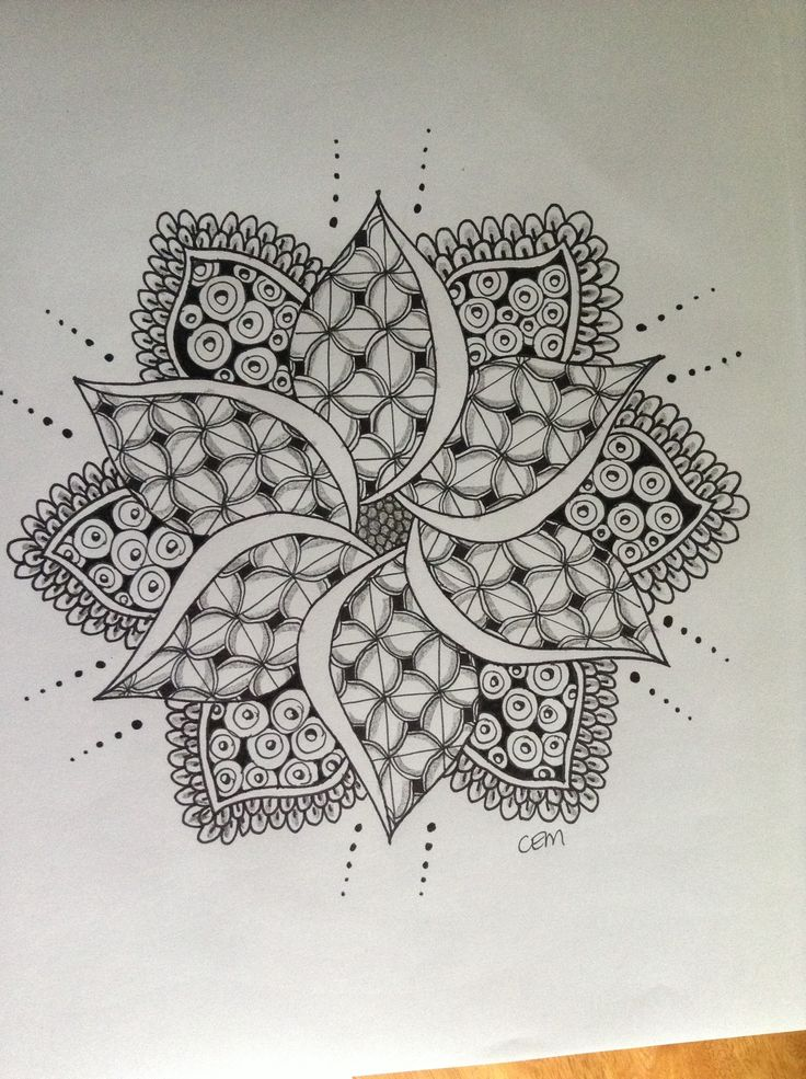 Monday's Mandala - #zentangle #zendoodle #zendala #mandala #art #drawing #pen #sharpie #graphite more at www.facebook.com/ChrissieMurphyDesigns