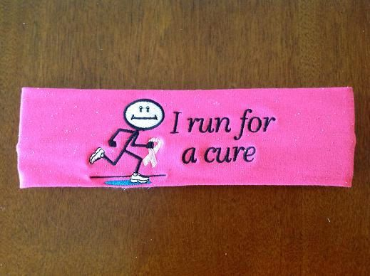I run a lot of charity 5ks... if you have a certain charity run or walk, these are great.     https://www.etsy.com/listing/129459924/awareness-headband-for-charity-runs-and
