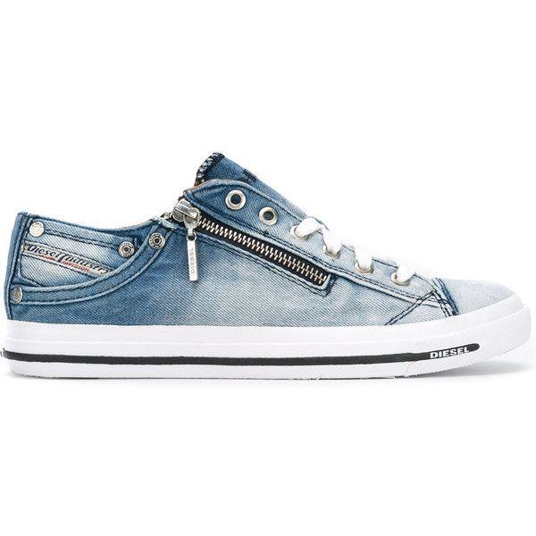 Diesel denim lace up sneakers ($139) ❤ liked on Polyvore featuring shoes, sneakers, blue, diesel footwear, blue denim shoes, diesel sneakers, laced shoes and denim footwear