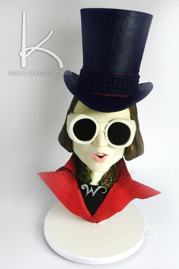 A hand-sculpted cake and sugar showpiece of Johnny Depp as Willy Wonka in Charlie and the Chocolate Factory | By Kara's Couture Cakes #cake #willywonka #johnnydepp #sculpted #charlieandthechocolatefactory #karascouturecakes