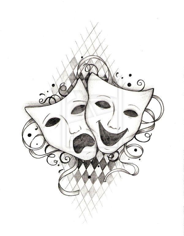 Drama Mask Ink Tattoo Black Pretty