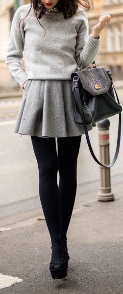 Just a pretty style | Latest fashion trends: Women's fashion | Grey sweater and skirt with black tights