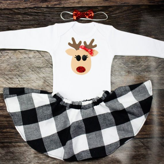 Girls Christmas Outfit  Reindeer Christmas Top by OliveLovesApple