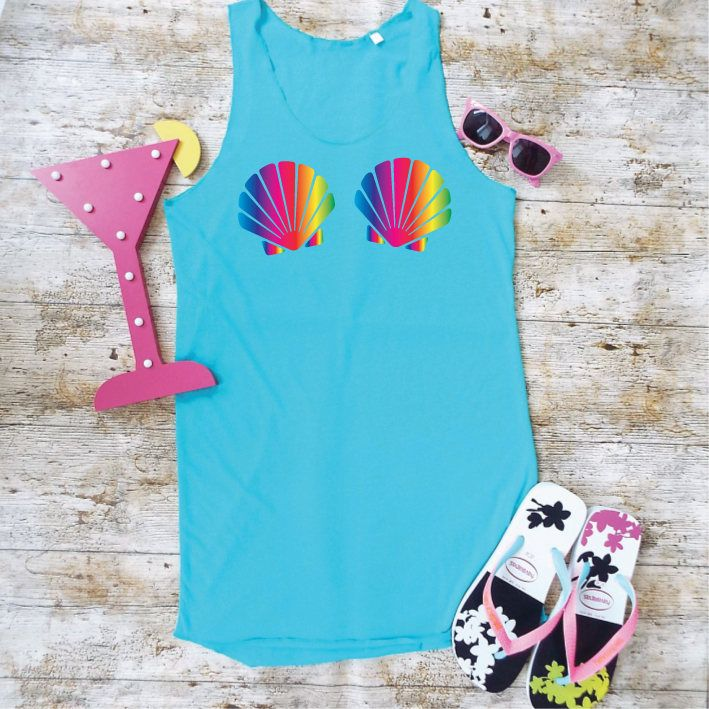 Rainbow Seashell Bra Beach Dress. Mermaid Beach Cover Up. Seashell Swimsuit Cover. Summer Dress. Mermaid Beach Top by SoPinkUK on Etsy