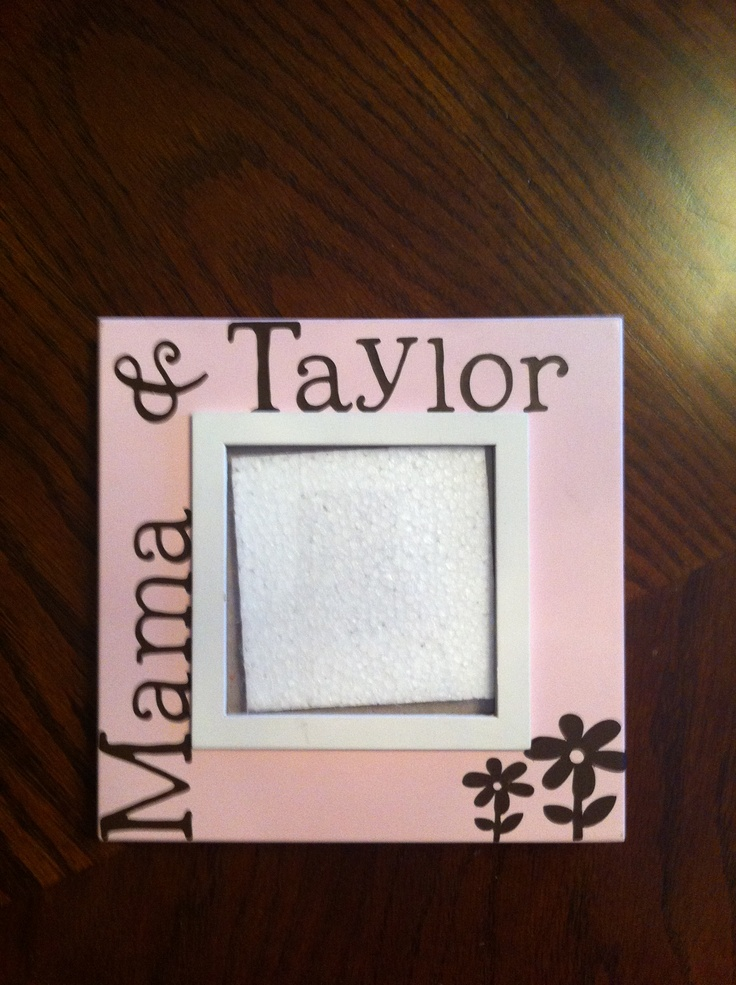 cheap picture frame u0026 adhesive backed vinyl used to cut out name u0026 pics with my