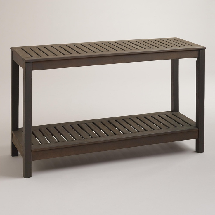 laguna outdoor console table world market with baskets underneath for towels