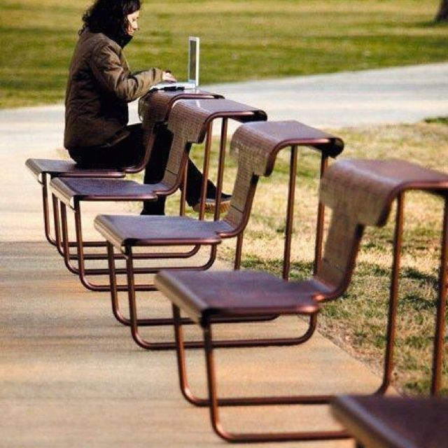 Outdoor desks that double as conventional seating. I absolutely love this idea with as much as we are moving into such a digital world.