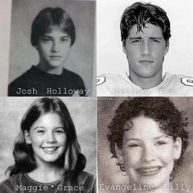 School pictures. Josh Holloway, Matthew Fox, Maggie Grace, and Evangeline Lilly.