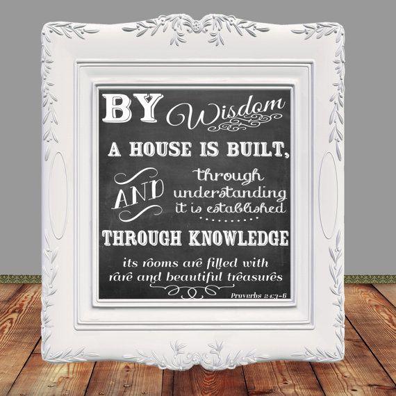 Bible Verse, Scripture printable, Scripture art, Home decor, Proverbs 24: 3-6, Printable Proverbs, Instant Download