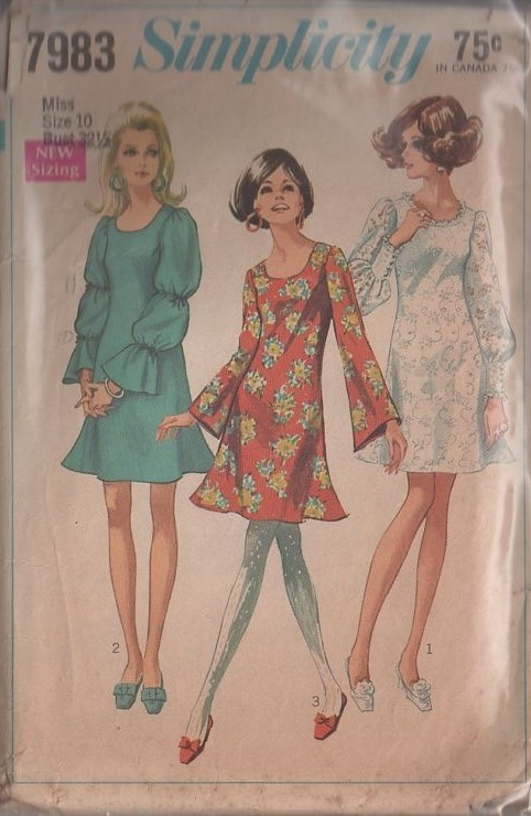 MOMSPatterns Vintage Sewing Patterns - Simplicity 7983 Vintage 60's Sewing Pattern THE BEST Mod Twiggy Lace Mini Dress, Trumpet Skirt Angel Bell Sleeved or Balloon