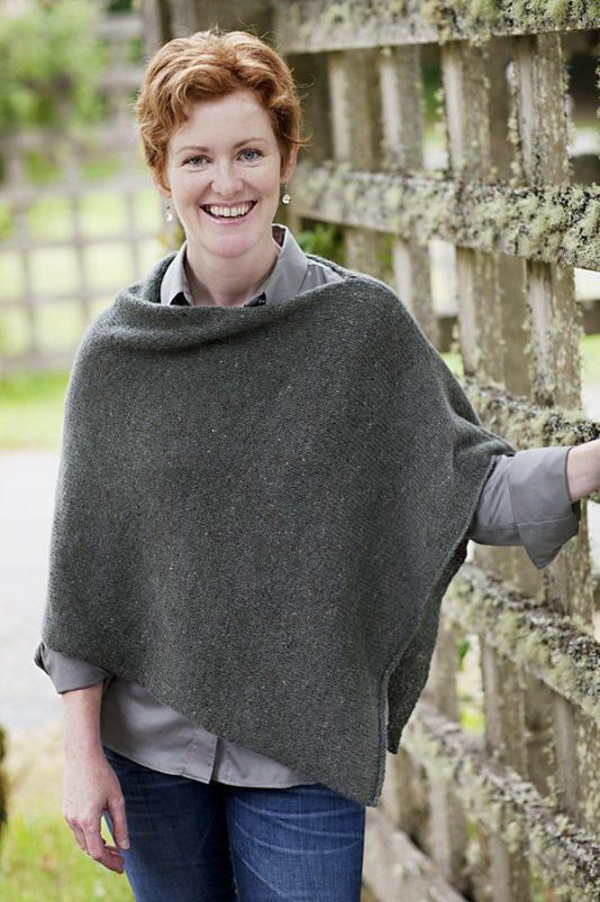 "Our favorite poncho transcends the trends. As a friend from Peru wryly observed, ""Where I come from, we've worn ponchos for three thousand years!"" It's easy to knit (just one long stockinette rectangle), easy to finish, and easy to throw on. We think it's like a really elegant sweatshirt. Pattern includes instructions for an optional cowl neck. FINISHED SIZE One size: Poncho: 22 x 50""/56 x 127cm, before folding. Cowl: 24""/61cm around x 8""/20cm tall. YARN Poncho with cowl: 9 skeins Blue Sky…"