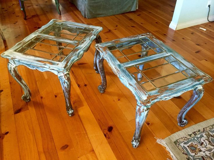 Matching Antique End Tables, set of two, glass top, side tables, shabby chic, french country, sofa tables in a chippy paint, patina finish by ReincarnatedwithLove on Etsy https://www.etsy.com/listing/255438688/matching-antique-end-tables-set-of-two