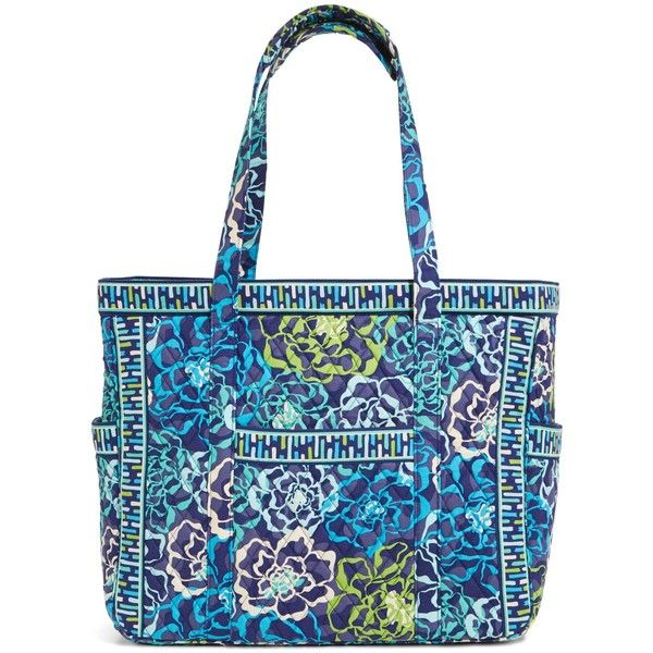 Vera Bradley Get Carried Away Tote in Katalina Blues ($69) ❤ liked on Polyvore featuring bags, handbags, tote bags, katalina blues, vera bradley purses, blue totes, travel purse, zipper tote and vera bradley handbags