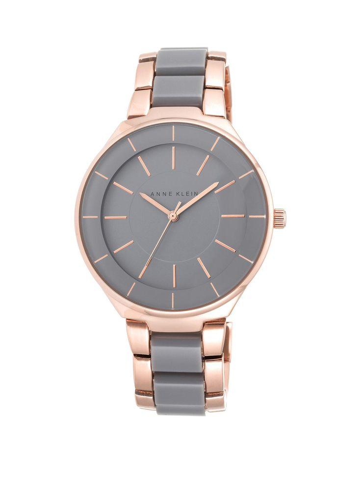 Anne Klein Anne Klein Grey Dial Oversized Boyfriend Grey Resin Ladies Watch | very.co.uk