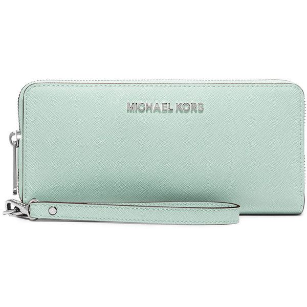 MICHAEL Michael Kors Jet Set Travel Continental Wristlet Wallet ($168) ❤ liked on Polyvore featuring bags, wallets, celadon, zip-around wallet, saffiano leather bag, michael michael kors wristlet, green wallet and credit card holder wallet