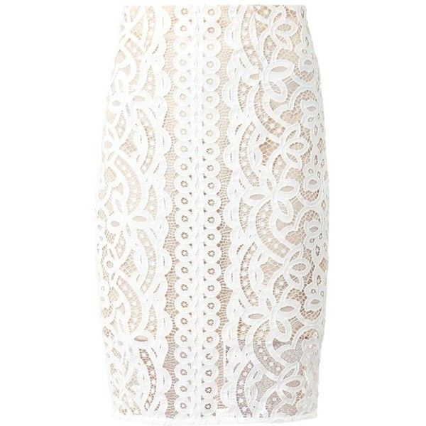LOVER Libra Japanese-lace pencil skirt ($495) ❤ liked on Polyvore featuring skirts, ivory, pencil skirt, lace pencil skirt, winter white pencil skirt, ivory pencil skirt and winter white skirt