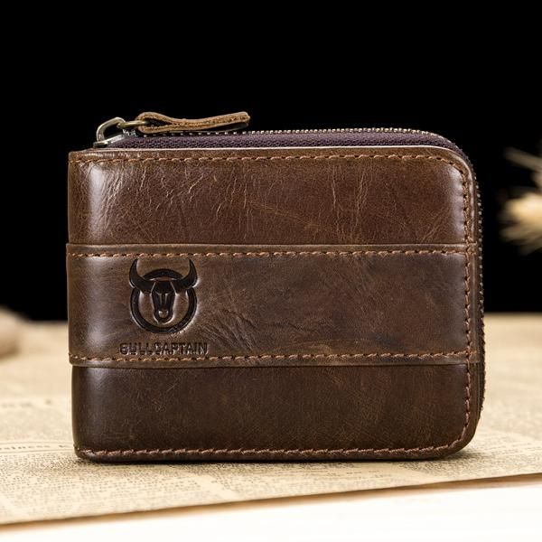 BULLCAPTAIN Genuine Leather Mens RFID Blocking Card Holder Bag Coin Wallet Purse