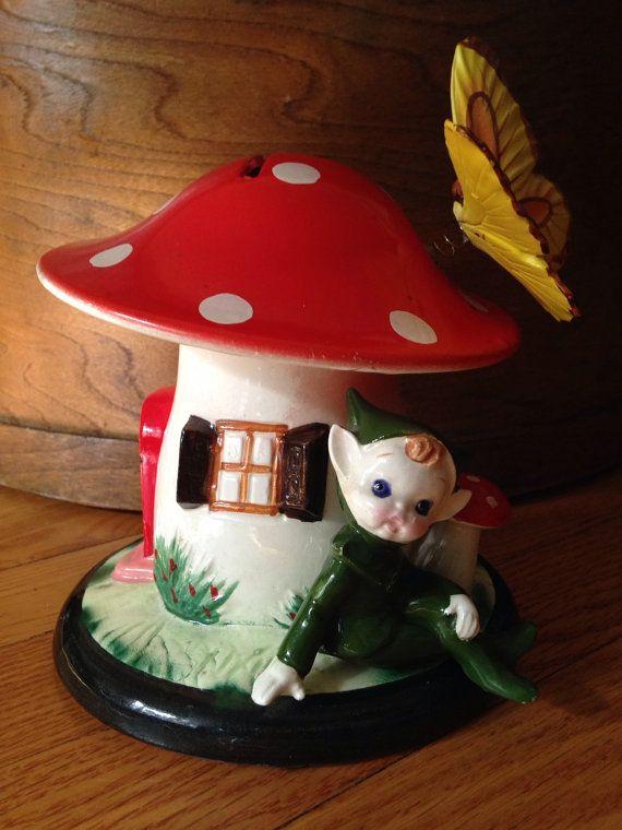 Toadstool Pixie Bank  Lefton Money Bank Money bank Elf by EyeKarma