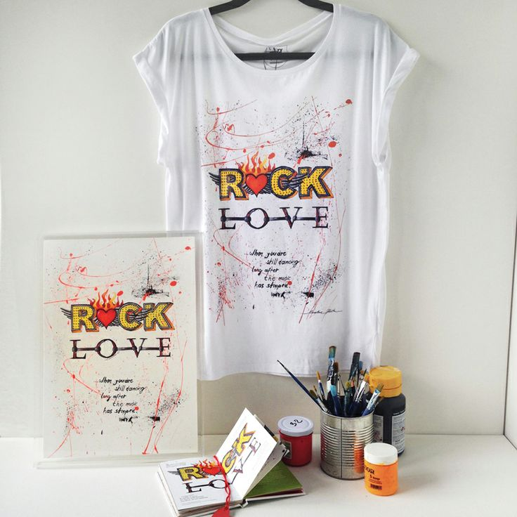 """when you 're still dancing long after the music has stopped""  That love rocks!!!! Original artwork by Caroline Rovithi (www.caroline.gr). The original drawing was handpainted on canvas by the artist and then transformed into this high quality product. Roll-up sleeve  t-shirt 100% Tencel Lyocell Fine Jersey 120 g/m ...from nature to your closet! #storymood #womentop #rocklove"