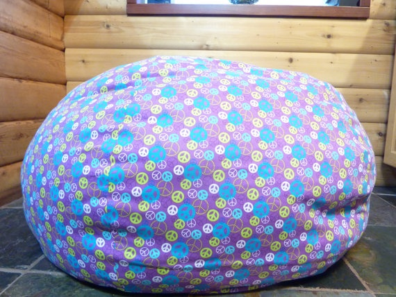 Peace Sign Bean Bag Chair Cover Flowers Hippie Purple