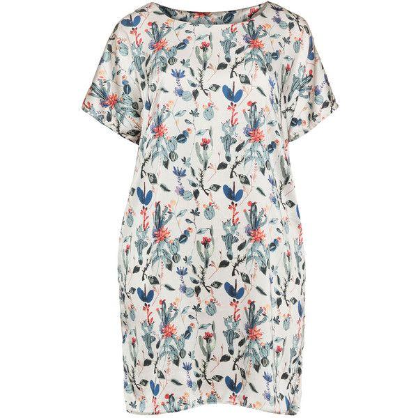 Junarose Cream / Multicolour Plus Size Floral print satin dress ($36) ❤ liked on Polyvore featuring dresses, cream, plus size, floral print dress, womens plus dresses, short dresses, satin dress and short loose dresses