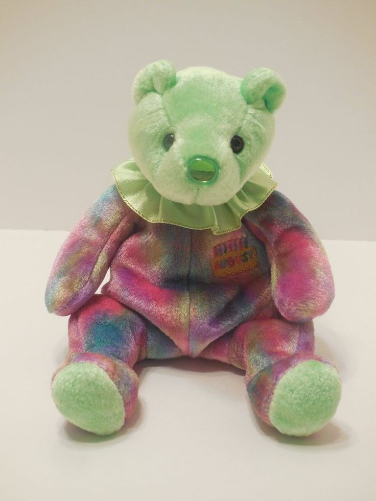 TY Beanie Baby August Birthday Bear NO HANG TAG 2001