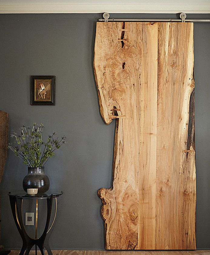 Modern Home - Wood Slab - Barn Door - Rustic Interior - Room Divider do this with driftwood