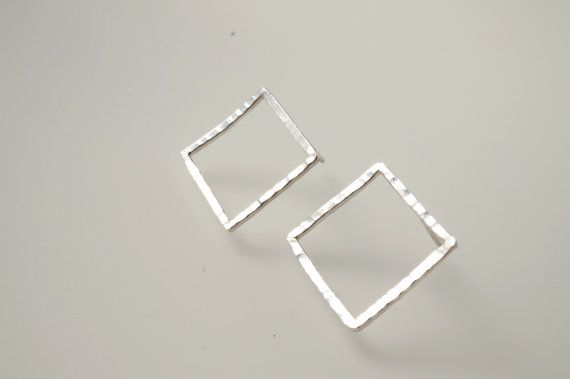 Hammered Sterling Silver Stud Square Stud Frame by HesisJewelry