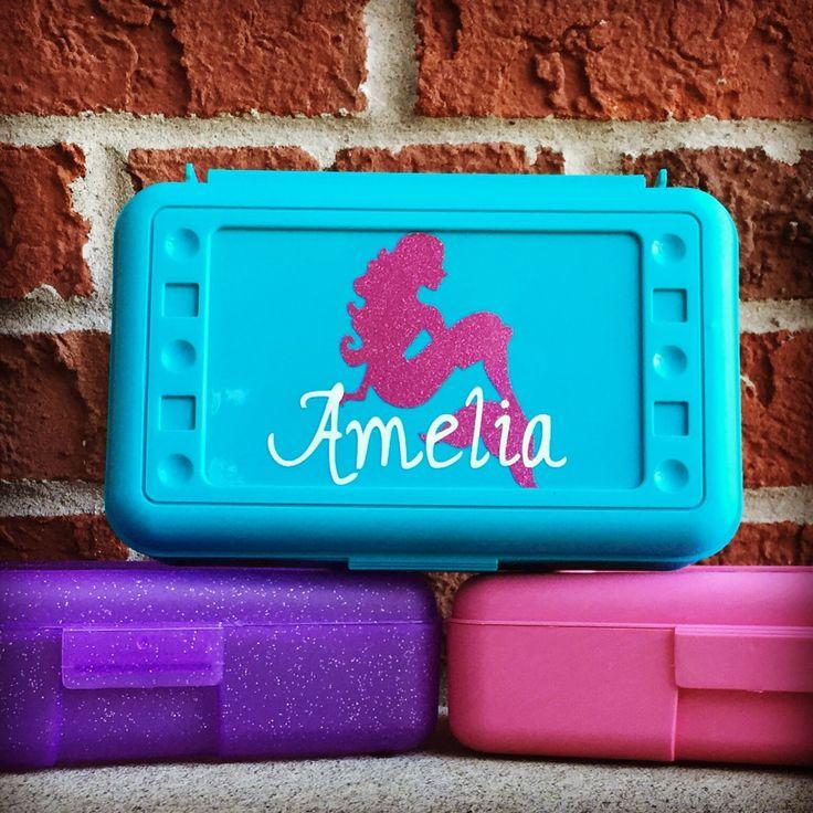 Personalized Pencil Box, Plastic Pencil Box, Personalized School Supplies, Personalized Crayon Box, Personalized School Box, Art Supply Box by customvinylbydesign on Etsy