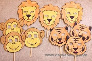 How to make zoo animal face masks with craft sticks (that make it easier for toddlers to hold)