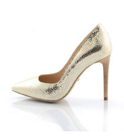Pantofi stiletto sarpe auriu Mirror