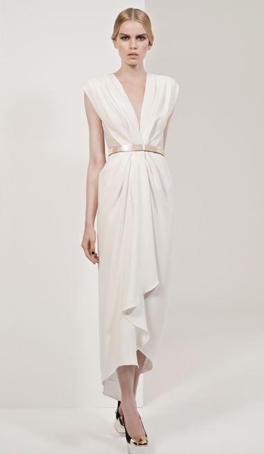 "Pearl Crepe ""Waterfall"" Gown - $849"