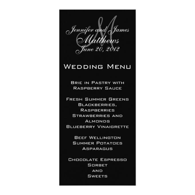 1770 best black and white wedding invitations images on pinterest black white simple monogram wedding menu 4x925 paper invitation card filmwisefo Choice Image