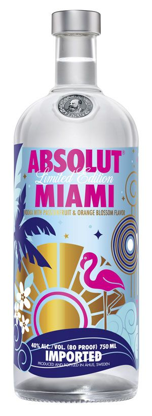 With bright, bold flamingoes, musical notes and palm trees outlined on the new bottle – ABSOLUT pays homage to a city known for legendary (and nonstop) nightlife, Art Deco and unbeatable music scene.    ABSOLUT MIAMI was designed internally by the Absolut team in US and Sweden.