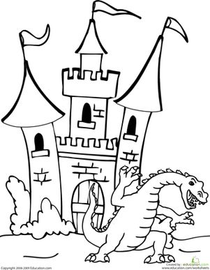 First Grade Fairy Tales Worksheets: Dragon and Castle Coloring Page