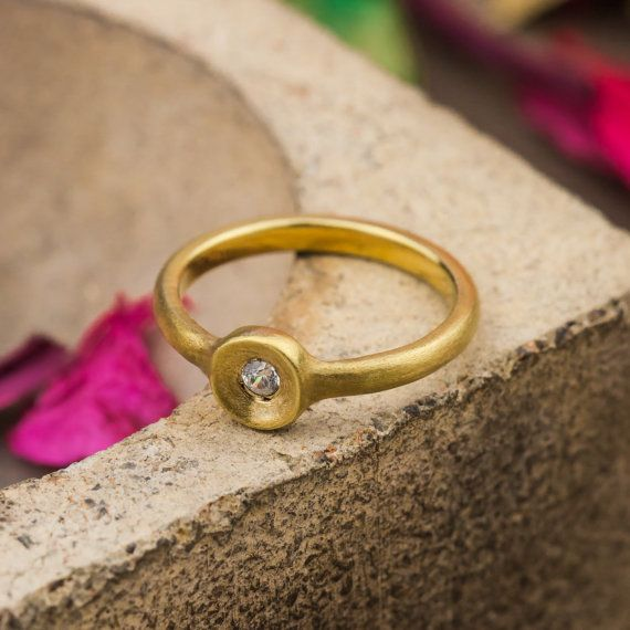 14K Yellow Gold Engagement Ring set with Natural by ZEHAVAJEWELRY