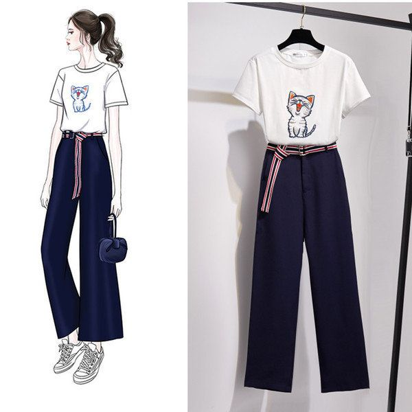 New Women's Two-piece Pants Embroidered Short-sleeved T-shirt Wide-leg Pants Casual Fashion Suit Women