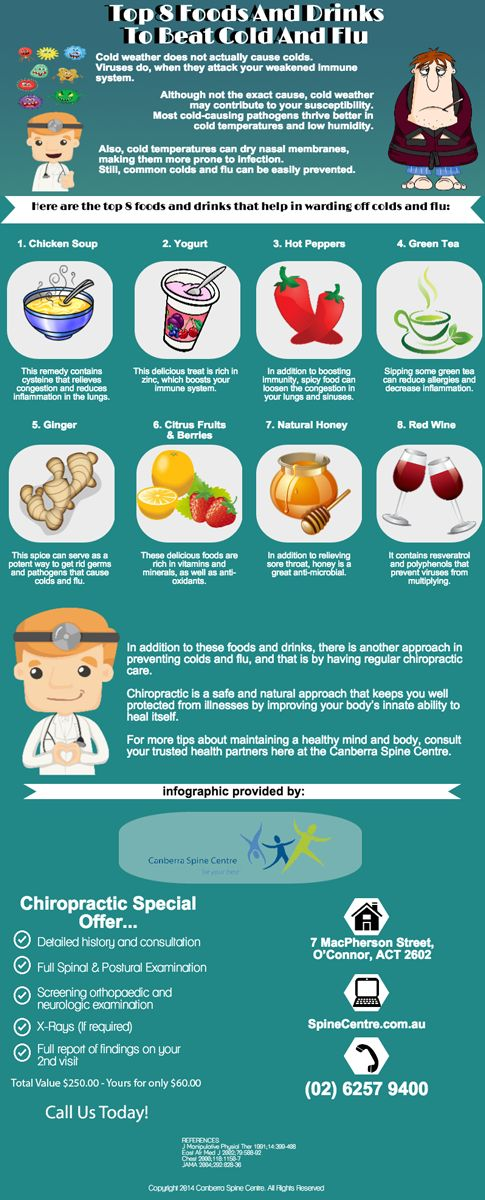 Top 8 Foods And Drinks To Beat Cold And Flu http://www.spinecentre.com.au/